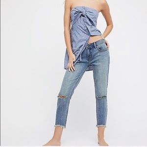 Free People destroyed raw edge ankle skinny jeans